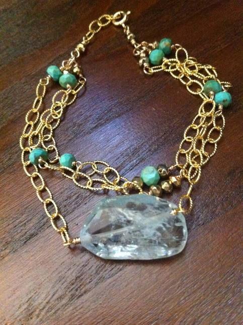 Aquamarine and turquoise bracelet