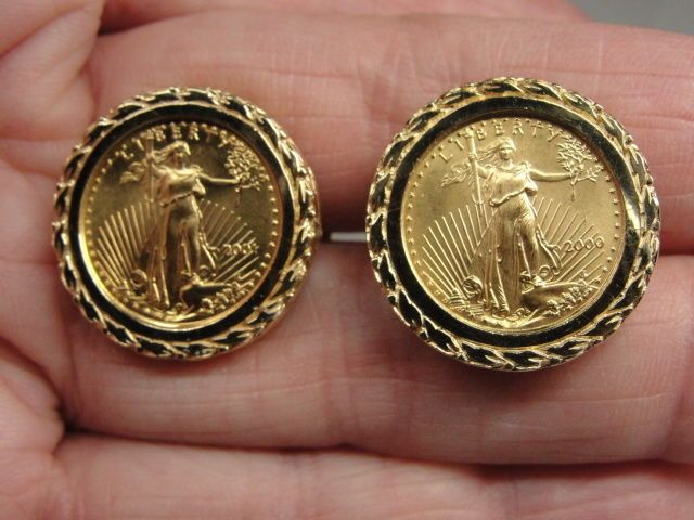 Estate 1 10 Oz 5 American Eagle Gold Coin Cufflinks W 14k Incised Setting American Eagle Gold Coin Gold Coins Cufflinks