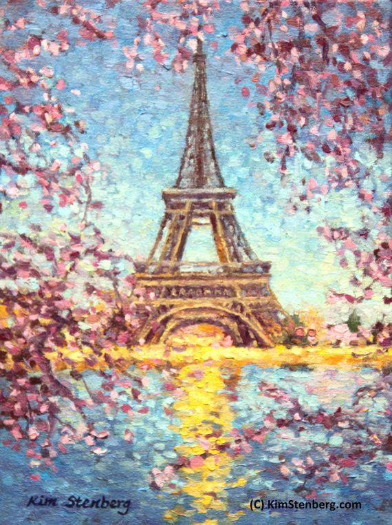 Paris Eiffel Tower Painting Cherry Blossom Spring Original Oil Etsy Eiffel Tower Painting Paris Painting Art