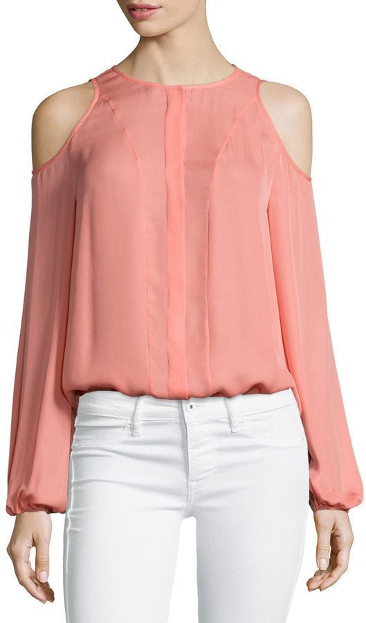 451ae6ffbed Tamara Mellon Cold-Shoulder Blouse, Sunset | Products | Ropa, Blusas ...