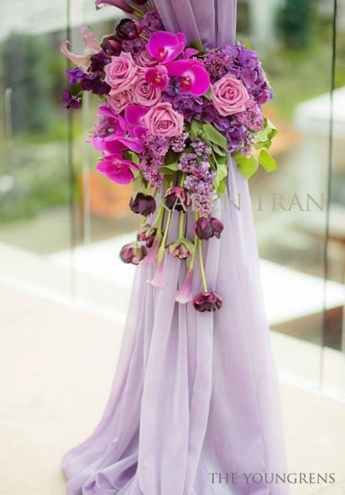 Arreglos Florales como anillos para recoger cortinas en la ...