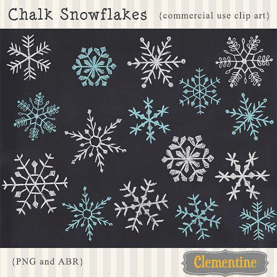 Digitalen Kreide Schneeflocken, ClipArt handgezeichnete Kreide Schneeflocken, Schneeflocke Photoshop Pinsel, Royalty-free-Instant Download