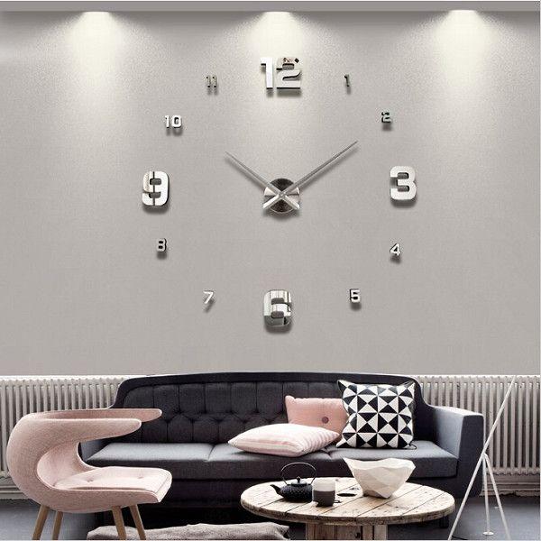 Large Diy Wall Clock Home Decor Mirror Sticker Art