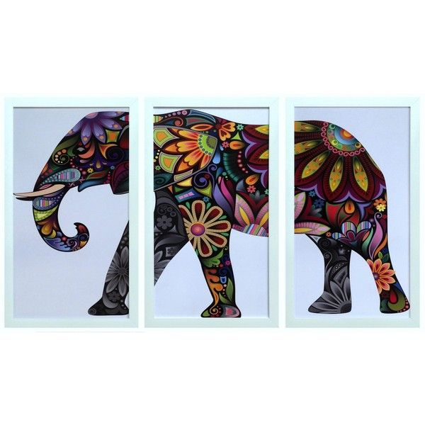 Paisley Elephant Framed Print Set/3 (2.395 HRK) ❤ liked on Polyvore ...