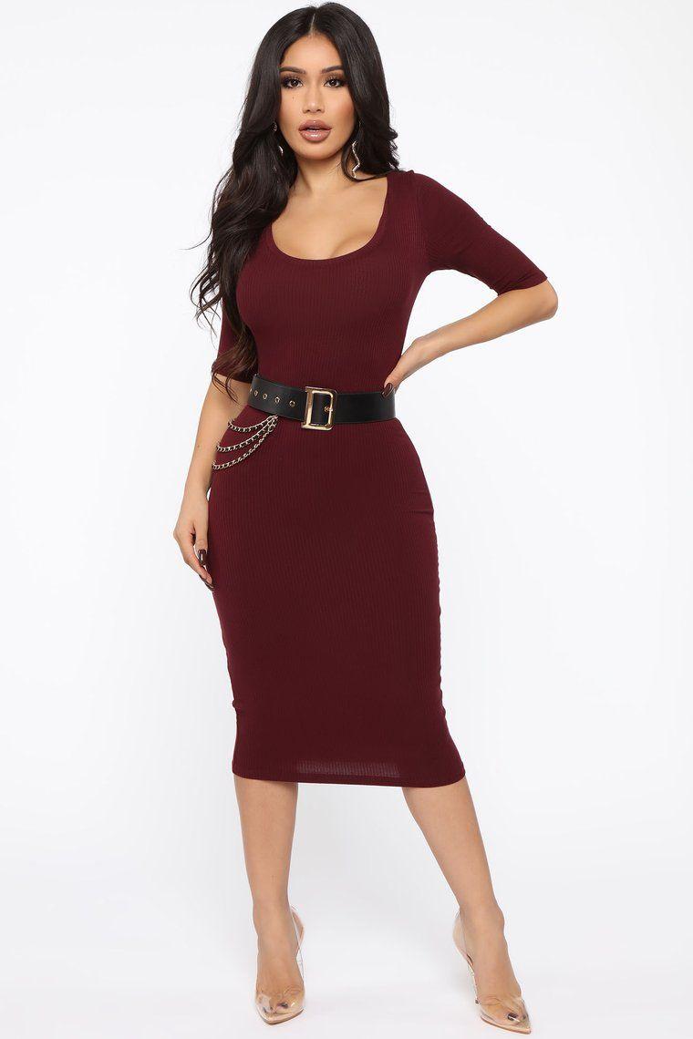 Fearless Ribbed Midi Dress Wine Ribbed Midi Dress Dresses Fashion Nova Dress [ 1140 x 760 Pixel ]