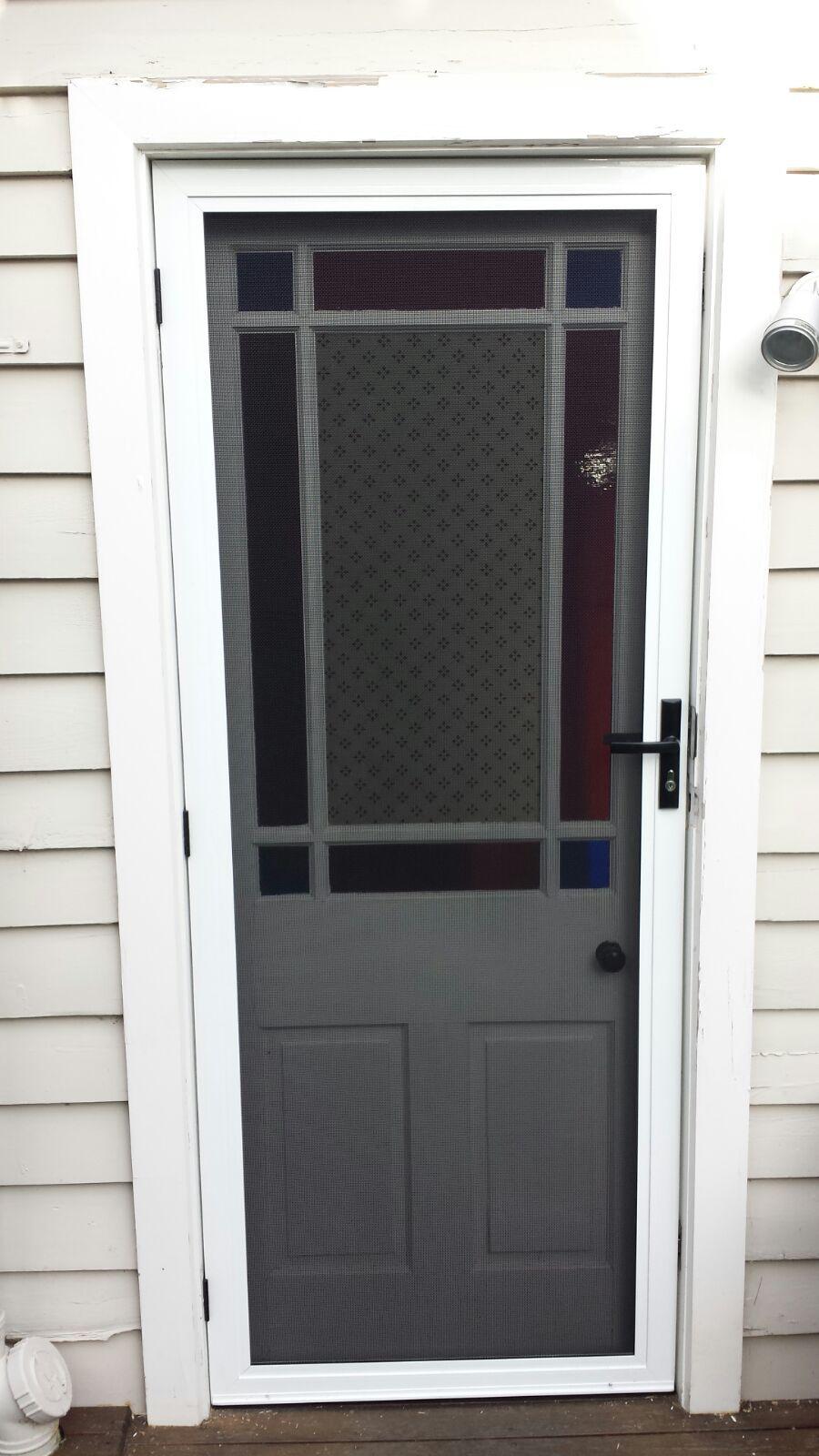 Aluminium Frame Security Door With Stainless Steel Mesh Installed In St Kilda East Security Door Entrance Door Design Steel Doors