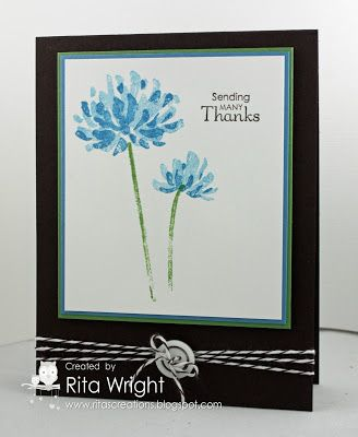 handmade card ... card base in black ... a stunning contrast to any color ... triple wrapped baker's twine gathered up with a button and a bow ... two step stamped flowers from You're too Kind ... Stampin' Up!