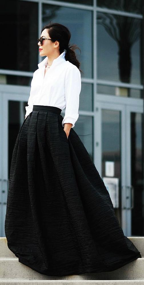Ropa De Fiesta Fashion Style Black Maxi Skirt