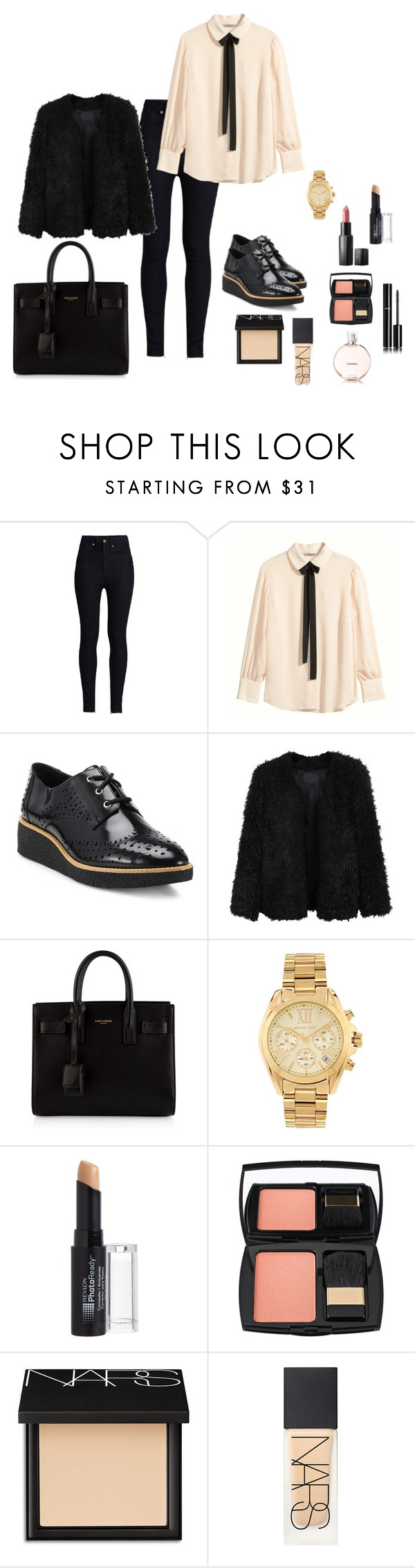 """""""M"""" by butnotperfect ❤ liked on Polyvore featuring Rodarte, H&M, Rebecca Minkoff, LE3NO, Yves Saint Laurent, Michael Kors, Revlon, Lancôme, NARS Cosmetics and Chanel"""