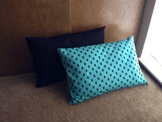 Set of 2 large pillows teal and black by artforlittleloves on Etsy, $28.50