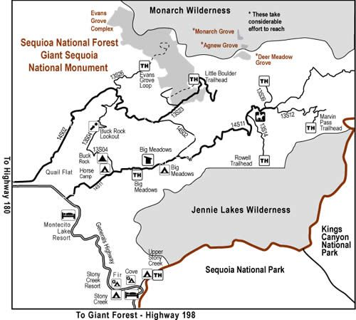 Generals Highway map To The Trails Pinterest National forest