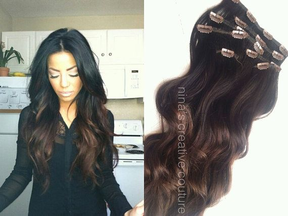 Darkest Brown Or Black And Chocolate Ombre Hair Extensions Clip