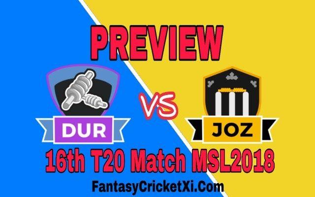 DUR VS JOZ 16th T20 Dream11 Team Prediction | DUR Vs JOZ ...