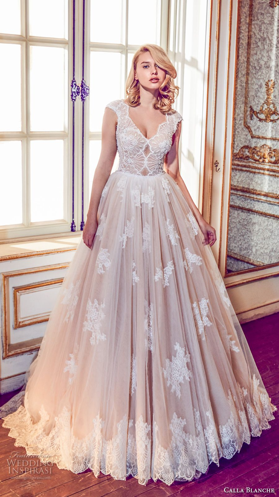 calla blanche fall 2017 bridal cap sleeves v neck heavily embellished bodice romantic blush color a  line wedding dress open v back royal train (43) mv -- Calla Blanche Fall 2017 Wedding Dresses