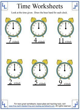 Time Worksheets  Telling The Hour  Telling Time Worksheets