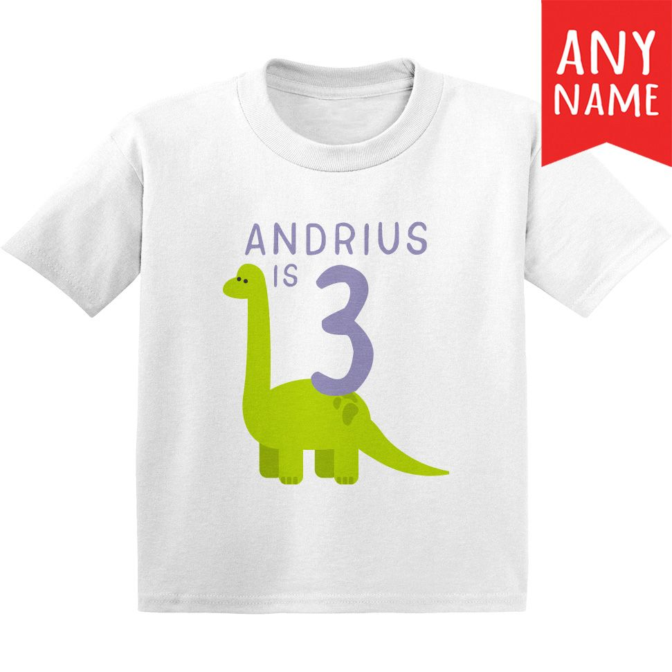 Dinosaur 3 Year Old Birthday Shirt Years Custom Name Toddler