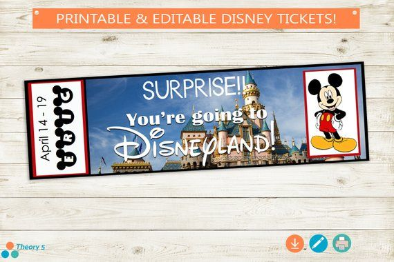 graphic regarding You're Going to Disneyland Printable known as Printable and Editable Tickets towards Disneyland! Adobe editable