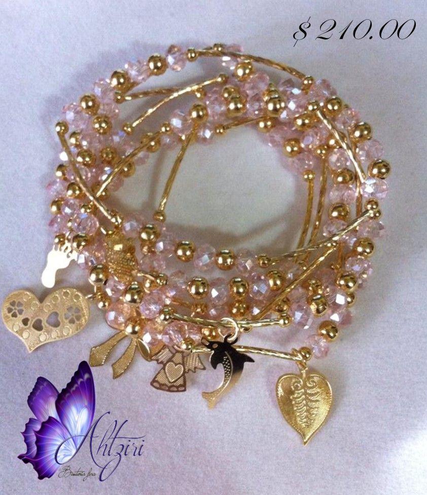 82735de70ebc Pulseras Bonitas · Mostrador · Semanario especial en piedras de cristal de  6 mm y chapa de oro de 14 k