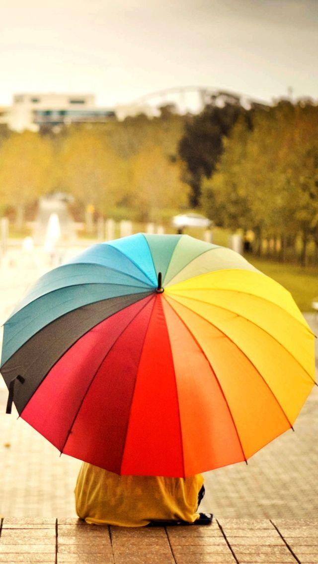 Colorful Umbrellas Kid Rainbow Weather Mood Iphone Wallpapers