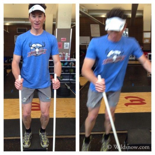 Pre-season backcountry ski workout- Classic box jump, with feet hips width apart. Using PVC poles to keep the hands quiet and steady while performing the exercise. Ski specific...