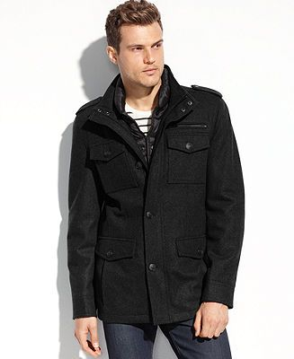Guess Coats Wool Blend Military Coat With Removable