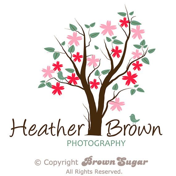 OOAK Whimsical Tree Logo Design Photography Watermark Camera Logovintage
