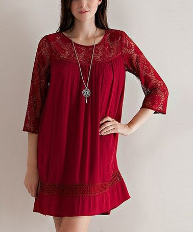 Loving this Crimson Lace Keyhole-Back Tunic on #zulily! #zulilyfinds