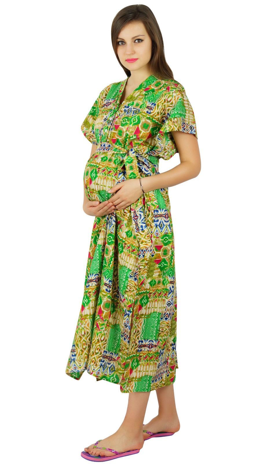 Bimba Maternity Cotton Kaftan Hospital Delivery Gown Nursing Night ...