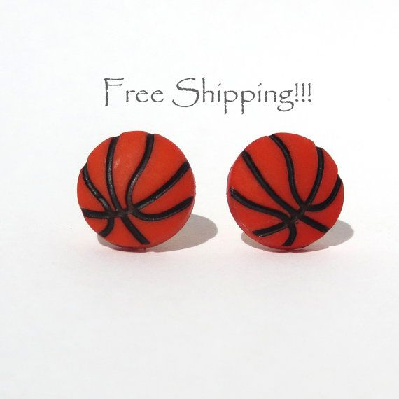 Basketball Stud Earrings Free Shipping Post Orange NBA NCAA Team Fan Sports Athlete WNBA Small Light Player Jewelry by CathysUniqueCreation, $6.50