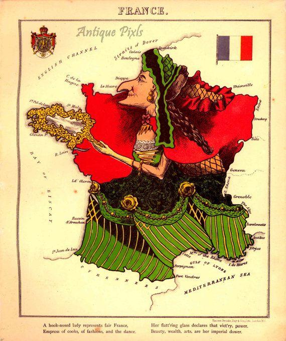 Carte Drole De France William Harvey 1869 Vintage Par Antiquepixls