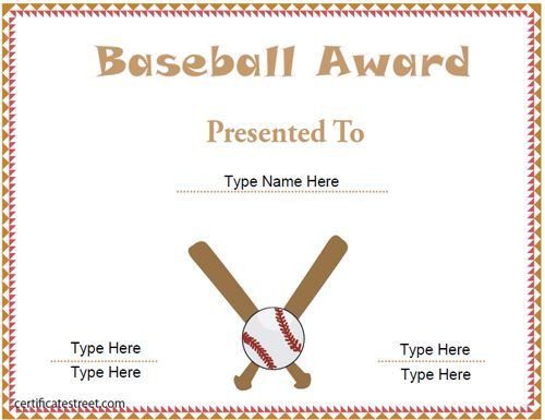 baseball-certificate-template Gifts Pinterest - free award certificate templates word
