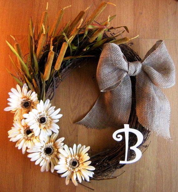 Diy Monogram Fall Wreath: Grapevine Wreath With Monogram Fall Wreath
