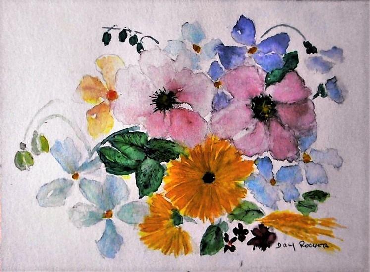 """Bien connu tableau fleur"""" """" bouquet Anglais """" """" peinture aquarelle sur papier  CZ38"""