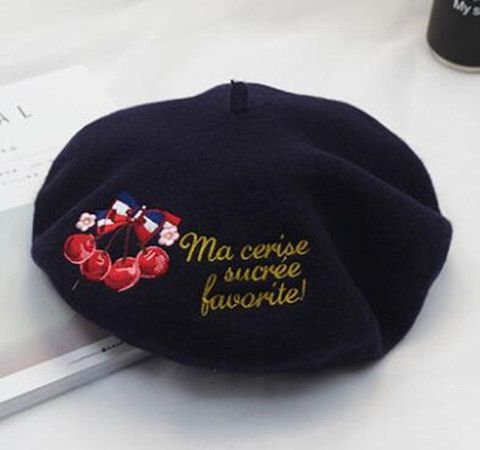 Embroidered  cherry bow beret hat for women letter  French beret  hats