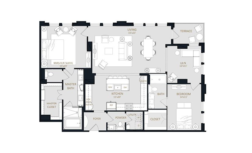 B6 2 Bedroom Floorplan Layout With 2 5 Baths And 1789 Square Feet Floor Plans Texas Apartments Pent House