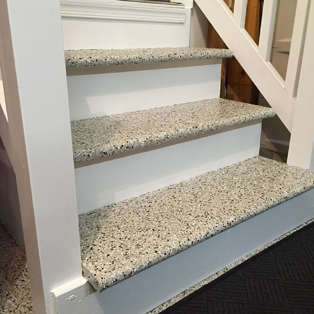 Epoxy on stairs why yes we do love that epoxy and for Basement flooring options