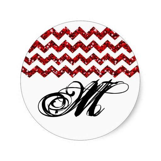 20 - 1.5  Envelope Seal Red Glitter Chevron Stripe Round Stickers