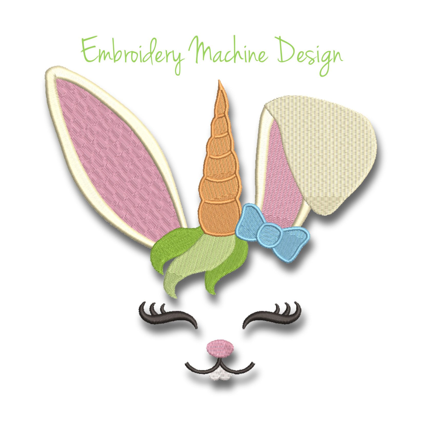 Embroidery Machine Designs Bunny face girl easter unicorn pattern digital instant download kids baby nursery design pes t-shirt