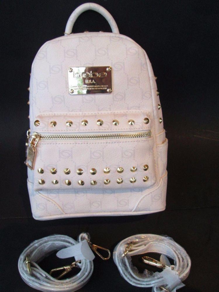 dfd798f3850 Bebe Jett Studded Mini Backpack Crossbody Cream White Logo Shoulder ...
