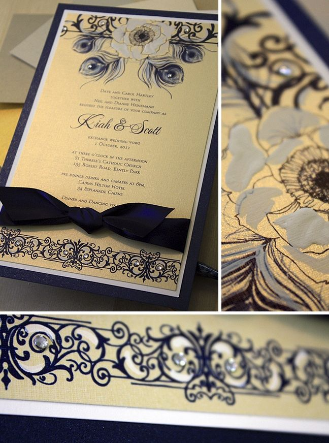 Navy and gold handpainted peacock wedding invitations