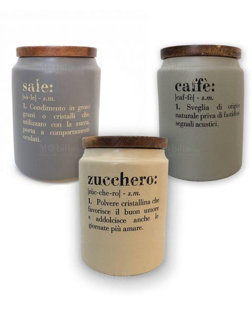 VILLA D/'ESTE Set 3 BARATTOLI Idee con Coperchio Sale Zucchero E Caffe/'