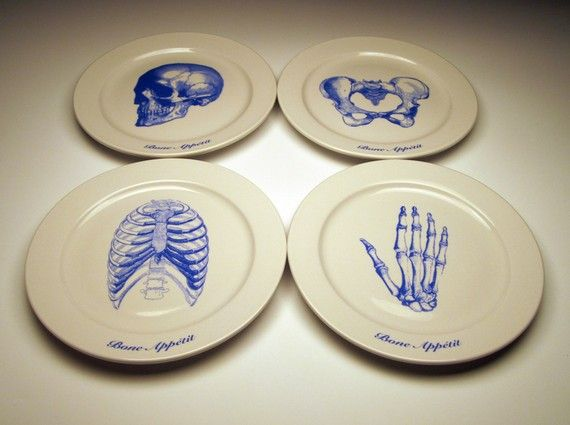 BONE APPETIT 9 inch dinner plates in BLUE : 9 inch dinner plate - pezcame.com