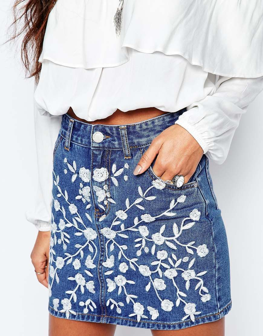 3cb377d94b Image 3 of Glamorous Denim Skirt With Floral Embroidery | Passion ...