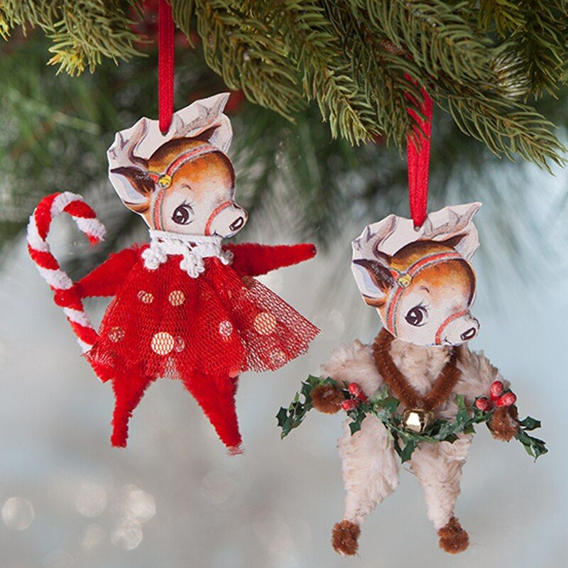 "Bethany Lowe 4"" Retro Chenille Reindeer Christmas Ornament"