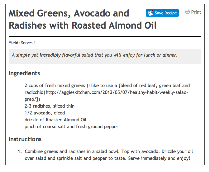 Mixed greens, avocado and radishes with roasted almond oil