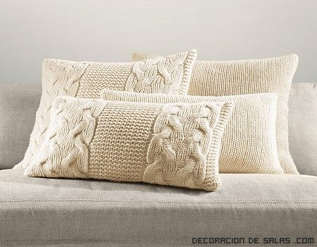 Cojin tejido con lana cojines pinterest pillows - Como decorar un cojin ...