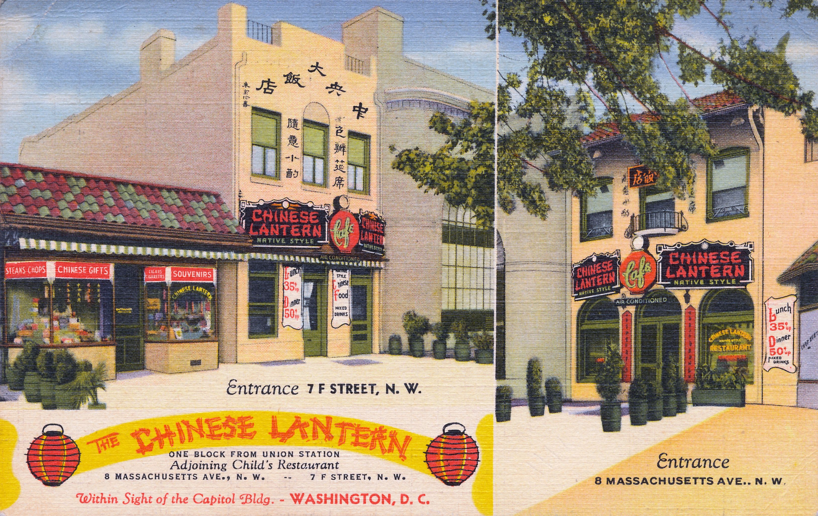 The Chinese Lantern Seen In This Circa 1943 Postcard Was In The Unit Block Of F Street Nw Across Washington Dc Restaurants Washington Dc Chinese Restaurant