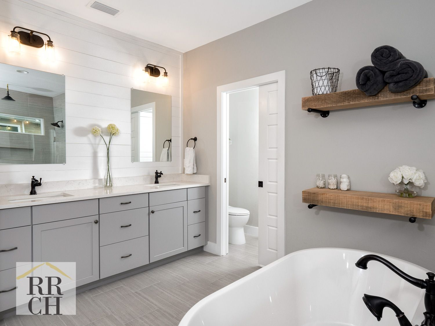 Gray Waypoint Cabinetry Quartz Countertops Oil Rubbed Bronze Fixtures Shiplap Wall Grey And White M Bronze Bathroom Fixtures Bronze Bathroom Tiny Bathrooms