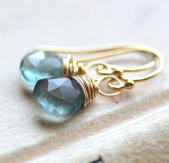Gold Aquamarine Earrings March Birthstone Moss by LRoseDesigns, $30.00