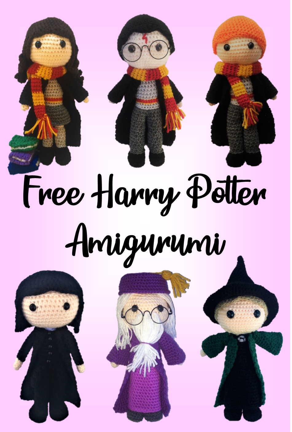 Free Amigurumi Harry Potter patterns including Hermione, Harry, Ron, Snape, Dumbledore and McGonagall #crochettoysanddolls